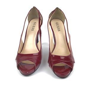 Guess Red Peep Toe Heels